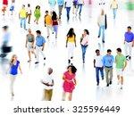 multiethnic walking talking... | Shutterstock . vector #325596449