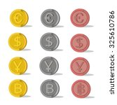 Vector Set Of Flat Coins On...