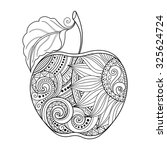 vector monochrome contour apple.