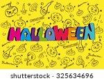 halloween vector illustration   ... | Shutterstock .eps vector #325634696