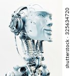 stylish robotic head in side... | Shutterstock . vector #325634720
