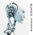 stylish robotic head in side... | Shutterstock . vector #325634738