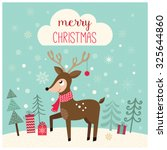 christmas card with deer in a... | Shutterstock .eps vector #325644860