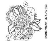 doodle art flowers. zentangle... | Shutterstock .eps vector #325649753