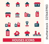 houses  buildings icons | Shutterstock .eps vector #325665983