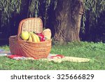 picnic basket and blanket on... | Shutterstock . vector #325666829
