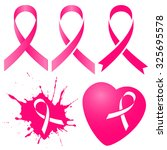 pink ribbon in five versions...   Shutterstock .eps vector #325695578