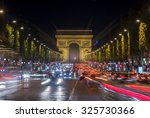 arc de triomphe at night  paris ... | Shutterstock . vector #325730366