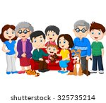 big family with grandparents... | Shutterstock .eps vector #325735214
