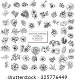 monochrome vector floral set of ... | Shutterstock .eps vector #325776449
