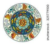 ethnic colorful mandala with... | Shutterstock .eps vector #325779500