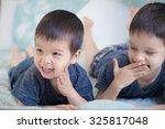 2 cute mixed race asian... | Shutterstock . vector #325817048