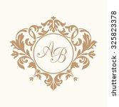 elegant floral monogram design... | Shutterstock . vector #325823378
