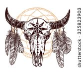 buffalo skull with feathers and ... | Shutterstock .eps vector #325823903