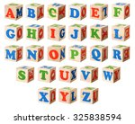 set of a wooden blocks with... | Shutterstock . vector #325838594