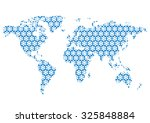 world map with beautiful floral ... | Shutterstock .eps vector #325848884