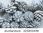 White Fir Cones On Wooden...