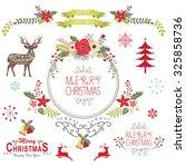floral vintage christmas... | Shutterstock .eps vector #325858736