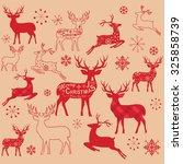 vintage christmas reindeer...   Shutterstock .eps vector #325858739