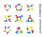 people collaboration logo set.... | Shutterstock .eps vector #325885508
