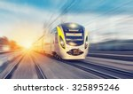 modern high speed train on a... | Shutterstock . vector #325895246