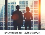 back view silhouettes of two... | Shutterstock . vector #325898924