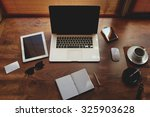 mock up of hipster workplace... | Shutterstock . vector #325903628