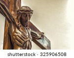 A Wood Carved Statue  Of The...