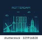 rotterdam skyline  detailed... | Shutterstock .eps vector #325916828