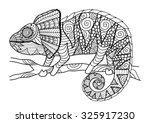 hand drawn chameleon zentangle... | Shutterstock .eps vector #325917230