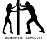 man and woman pushing a wall  | Shutterstock .eps vector #325933268