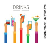 raised hands with drinks and... | Shutterstock . vector #325936598