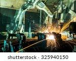team welding robots represent... | Shutterstock . vector #325940150