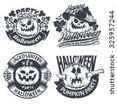 halloween emblem set. original... | Shutterstock .eps vector #325957244