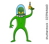 Alien In Green Space Suit Whil...