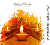 happy diwali diya card artistic ...   Shutterstock .eps vector #325987424