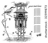 illustration with bird house | Shutterstock .eps vector #32599873