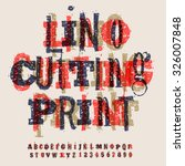 linocut letters and numbers ... | Shutterstock .eps vector #326007848