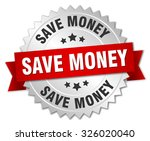 save money 3d silver badge with ... | Shutterstock .eps vector #326020040