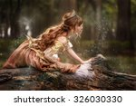 asian princess with magic dust... | Shutterstock . vector #326030330