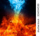 Red And Blue Fire On Balck...