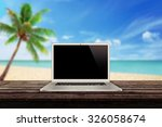 white laptop on the table with... | Shutterstock . vector #326058674