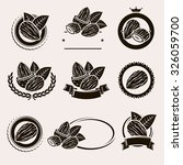 almonds labels and elements set.... | Shutterstock .eps vector #326059700