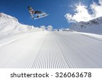 flying snowboarder on mountains ... | Shutterstock . vector #326063678