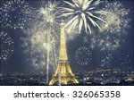 eiffel tower with fireworks ... | Shutterstock . vector #326065358
