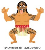 new zealand maori man doing... | Shutterstock .eps vector #326069090