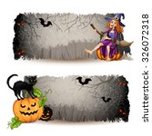 halloween  banners with witch... | Shutterstock .eps vector #326072318
