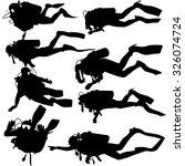 set black silhouette scuba... | Shutterstock .eps vector #326074724