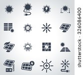 vector black solar energy icon... | Shutterstock .eps vector #326086400
