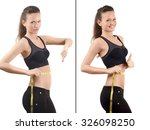 girl measuring her waist with a ... | Shutterstock . vector #326098250